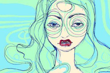 Zeichnung einer übermüdeten Frau