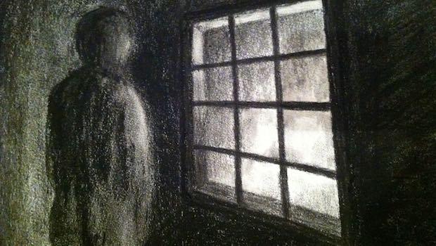 Zeichnung einer Person vor dem Fenster