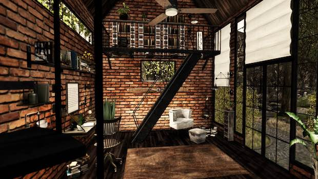 Zimmer Backsteinmauer weißer Sessel