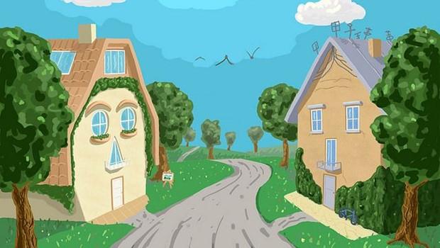 Gemaltes Bild zweier freundlicher Häuser, durch Straße getrennt